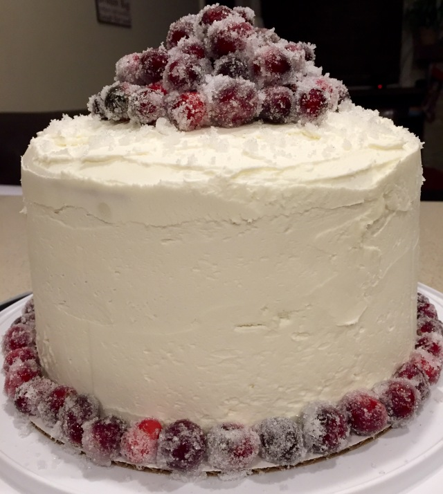 Sparkling Cranberry White Chocolate Cake - Whole