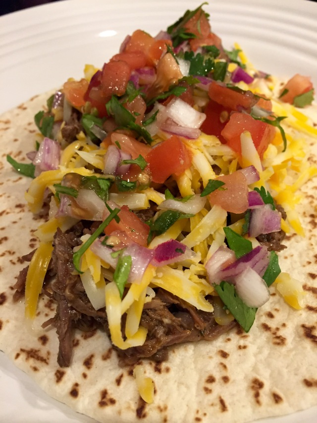 Barbacoa open face taco