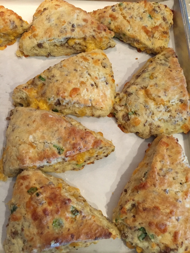 Sausage and cheddar cheese scones