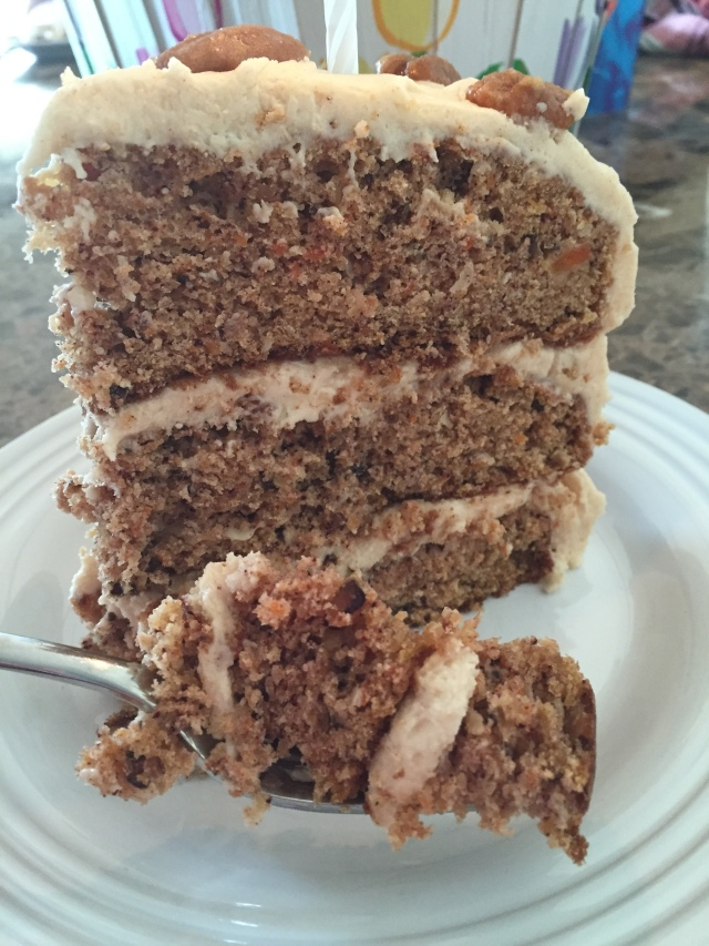 carrot cake on fork