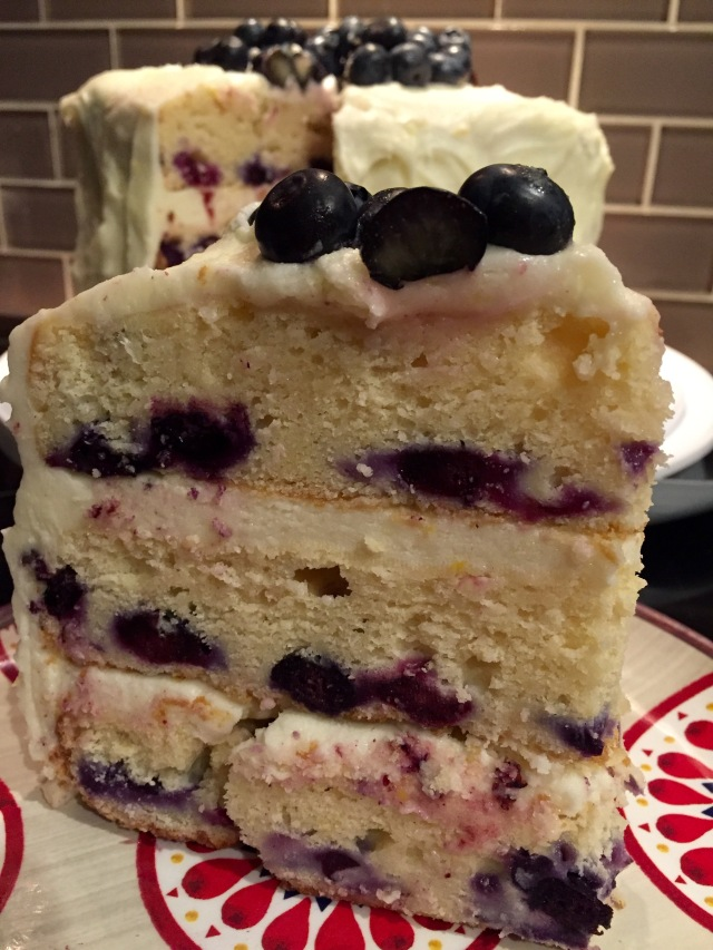 Slice of Lemon Blueberry Cake