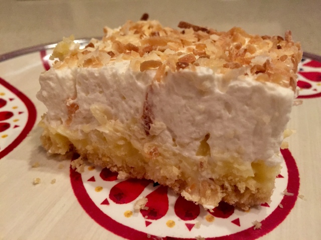 slice of coconut cream pie bar